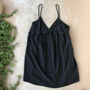 Sezane Black Silk Julie Babydoll Slip Dress